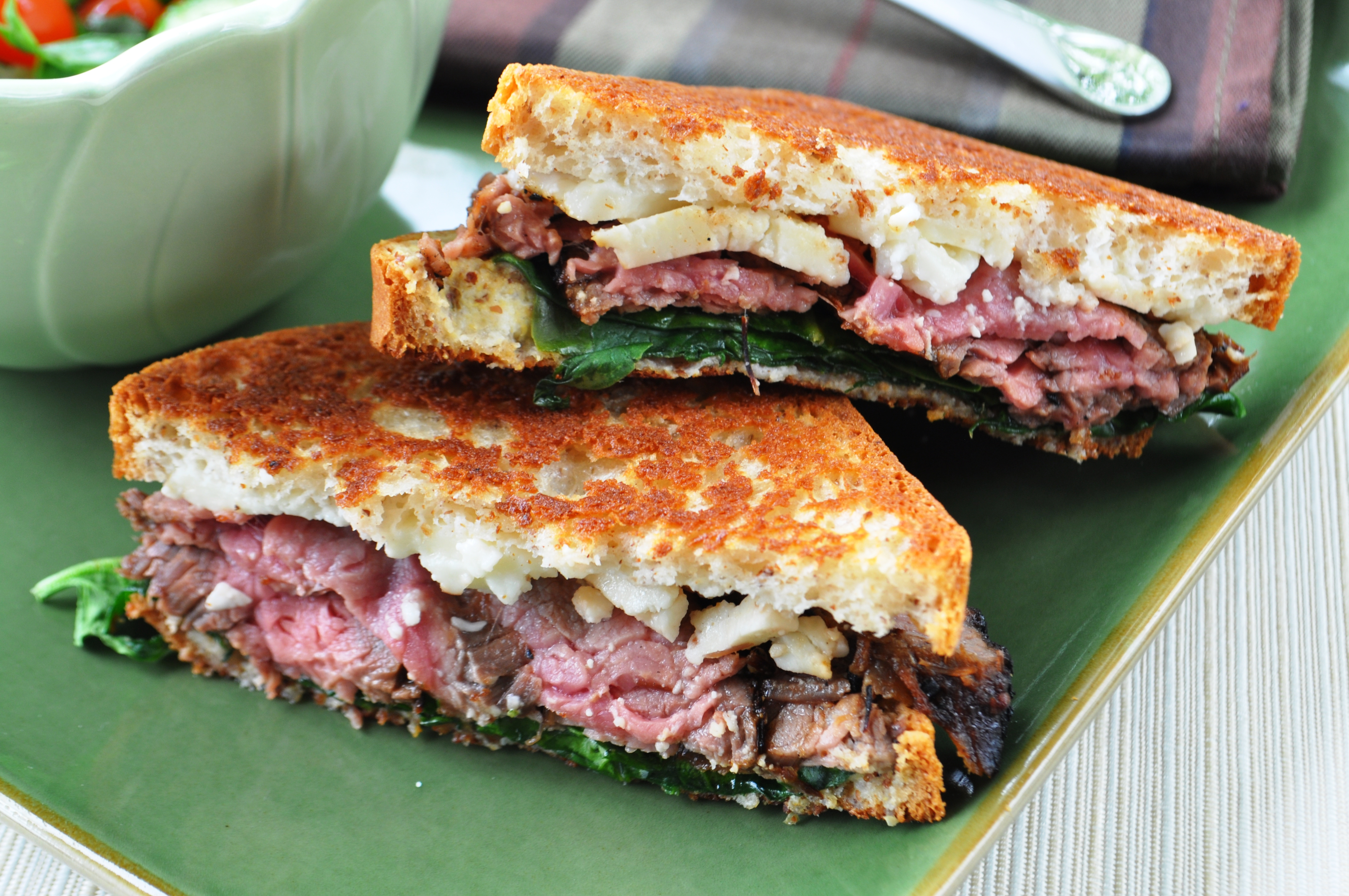 Grilled Flank Steak Sandwich with Parlick Fell Cheese, Spinach, And a ...
