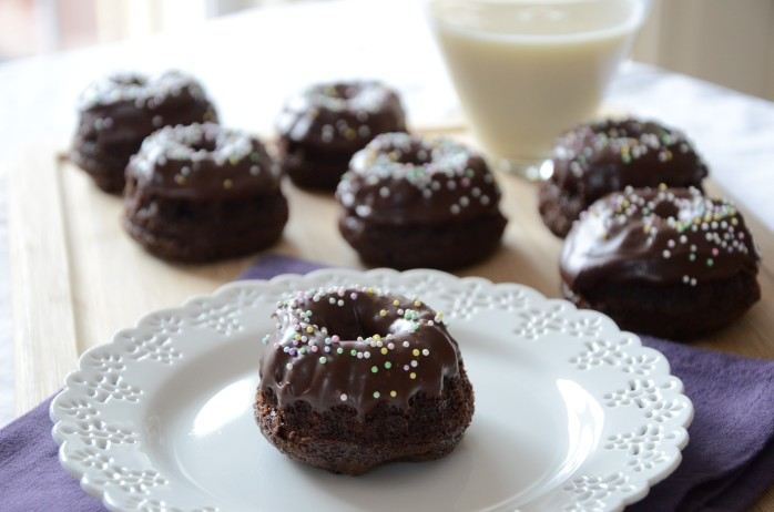 Chocolate Dipped Baked Doughnuts
