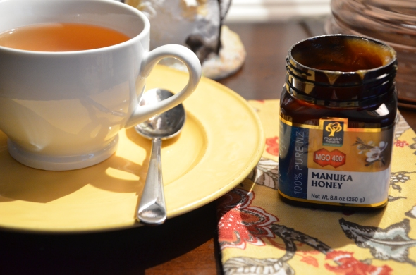 My morning anti-inflammatory elixir. Organic green tea and Manuka honey.