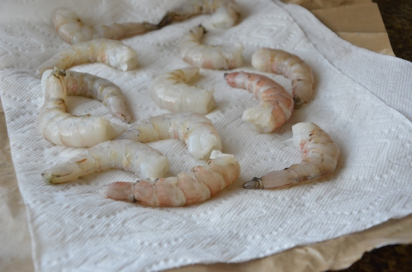 These were HUGE shrimp. I cleaned them and sliced them down the middle.