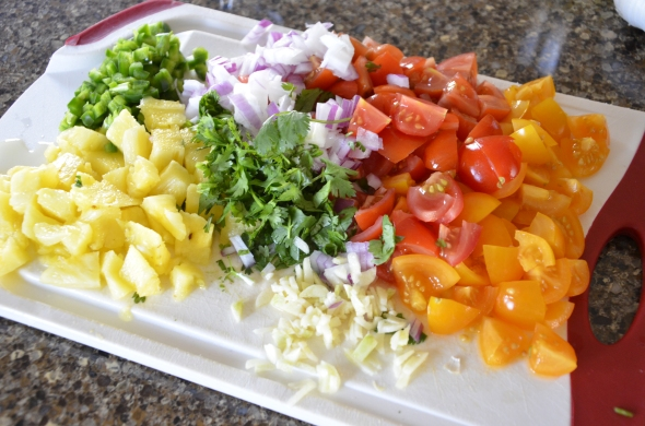 Fresh Pico with cherry tomatoes, red onion, pineapple, cilantro, garlic, jalapeno, and fresh squeezed lime juice.