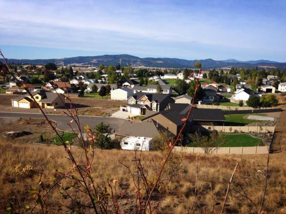 "The view of our neighborhood from ""smoking rock"". The neighbors probably think we are looney tunes."