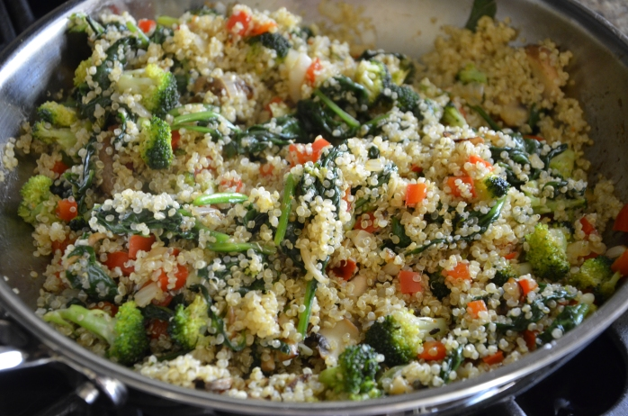 Add the quinoa to the vegetable mixture and season with salt and pepper to taste.