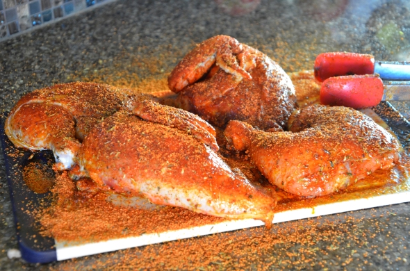 Coat chicken pieces with olive oil, season well with sea salt and Bragg's Organic Sprinkle. Coat both sides of the chicken generously with the Smoky Honey Habanero rub. Wait for the olive oil to absorb it and repeat. Finish with another generous seasoning of sea salt.