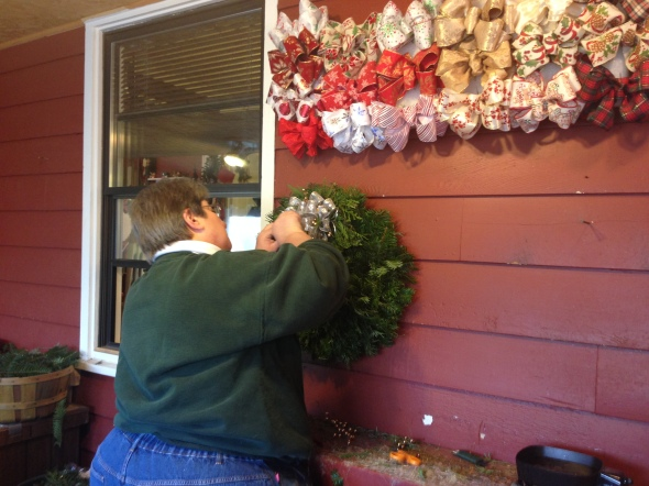 This gal is working on a fresh wreath for our front door. This is in the entrance of the gift shop and smells absolutely amazing.