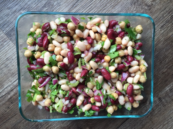 Three bean salad is one of my favorites, travels well, and is so simple to make! It was quite a treat as I've been abstaining from legumes.